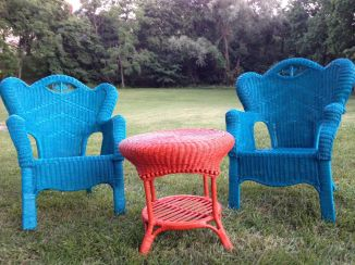 Matching Wicker Chairs & Coffee Table