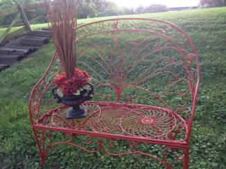 Metal Settee in Paprika